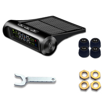 Solar Power USB TPMS Car Tire Pressure Monitoring System LCD Wireless 4 External Sensors for V W  SUV Temperature Warning #806
