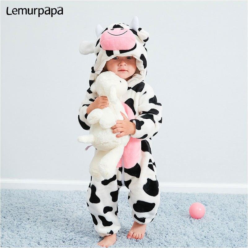 Bebê kawaii macacão 0-3 anos menina do menino kigurumis macacão inverno quente aconchegante terno animal vaca traje casa macacão criança roupas engraçadas
