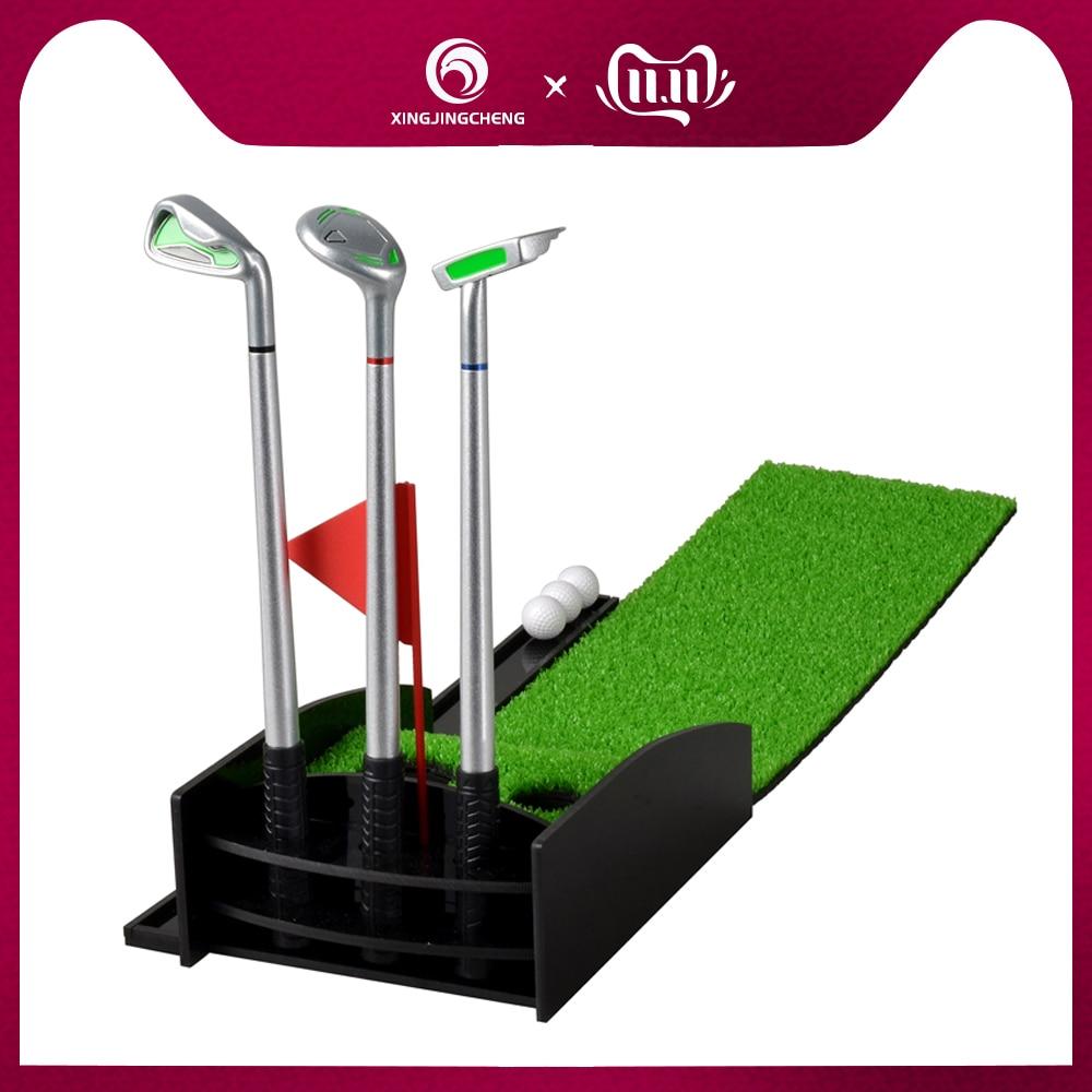 Mini Desktop Golf Clubs Putter Pen Kits Set With Flag Grass Balls Professional Golf Practice Mat Green Long Challenging Putter