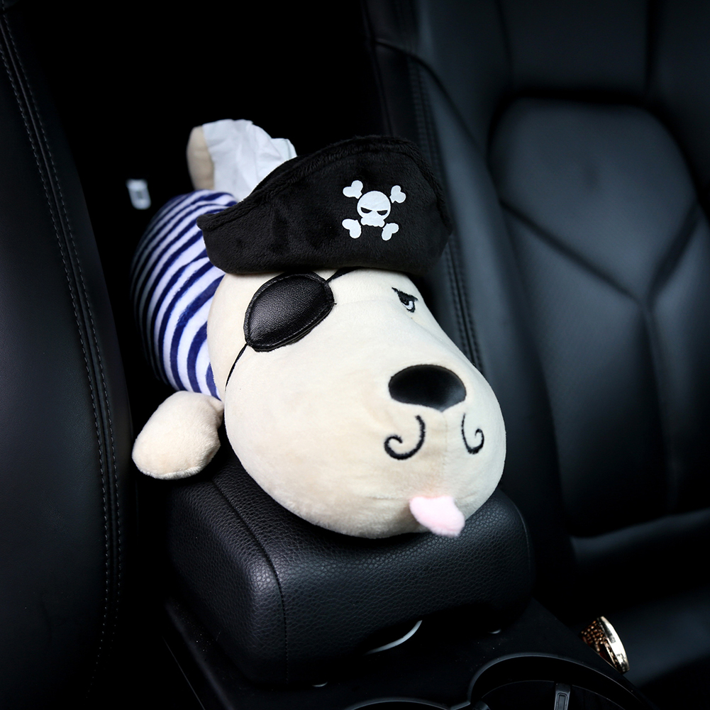 Car Tissue Box Plush Husky Cartoon Animals Dog Napkin Holder on Armrest Headrest Head Pillow Car Accessories for Auto Home Decor