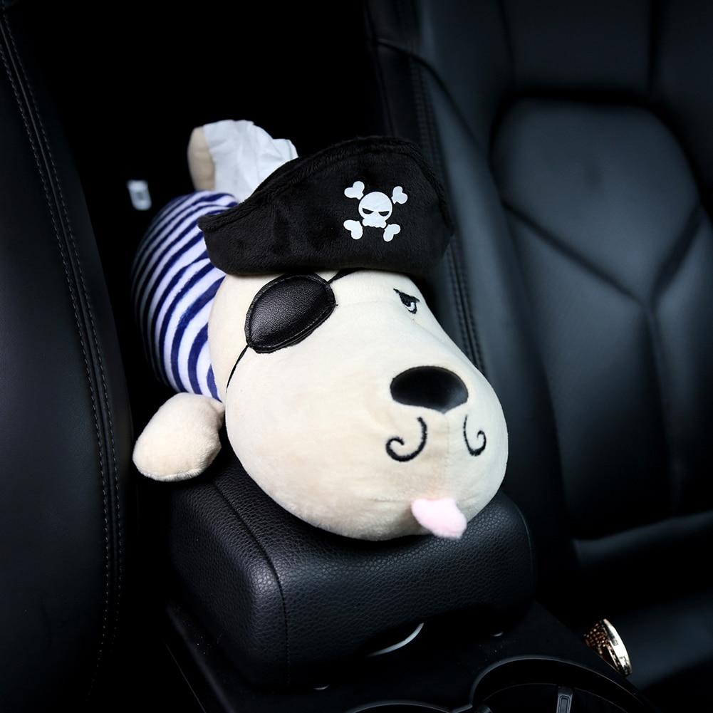 Car Tissue Box Plush Husky Cartoon Animals Dog Napkin Holder on Armrest Headrest Head Pillow Car Accessories for Auto Home Decor