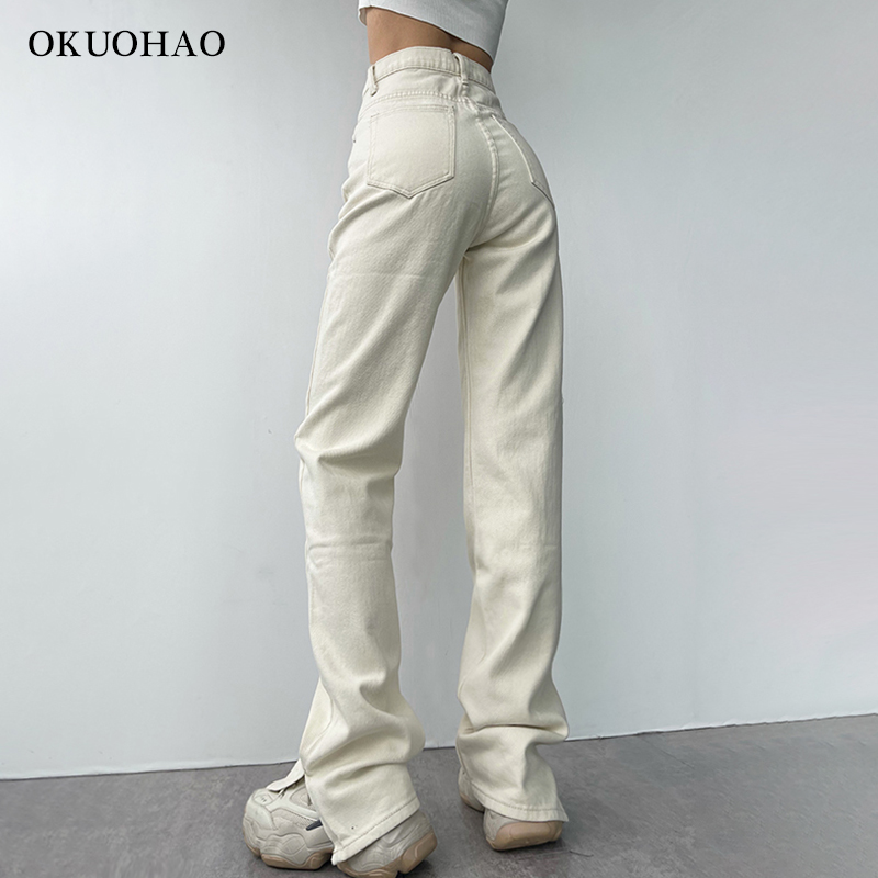 2021 Flared Jeans Women High Waist Mom Jeans Denim Trousers Female Streetwear White Vintage Clothes Boot Cut Wide Oversize Pants 5