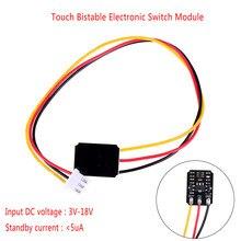 Módulo eletrônico bistable do interruptor do toque do mini interruptor do toque relé conduzido 5v para o vidro acrílico cerâmico dc 3 v-18 v 12 v 2a do toque capacitivo