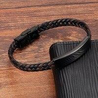 Pulsera de cuero genuino tejido a mano para hombre y mujer, brazalete de acero inoxidable, joyería de moda al por mayor, negro y marrón, nuevo estilo, 2021