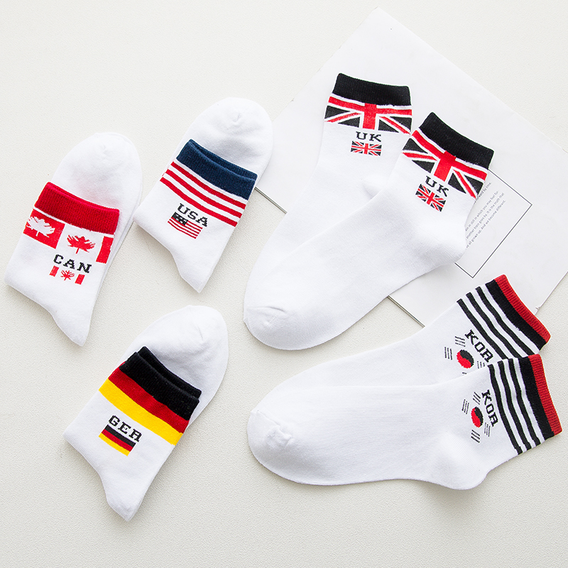 American Canada Flag Striped Socks Fashion Casual Personalized Harajuku Men Autumn Winter Sweat Absorbent Cotton White Crew Sock