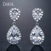 ZAKOL sans nickel mode classique goutte d'eau cristal zircone boucles d'oreilles de mariée bijoux de mariage pour les femmes en gros FSEP091