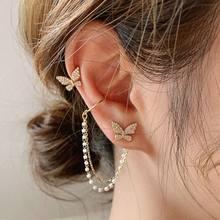 EN – boucles d'oreilles papillon EN strass pour femme et fille, bijoux élégants et mignons, à la mode coréenne, chaîne EN métal