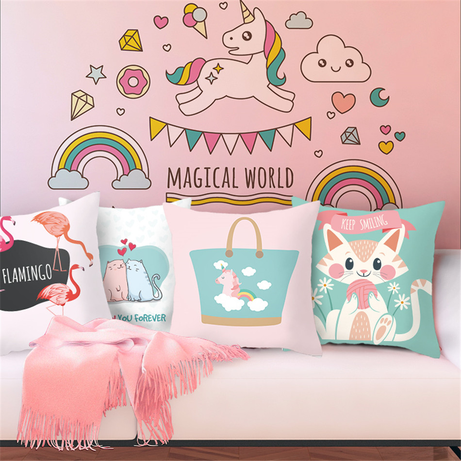 Fuwatacchi Pink <font><b>Unicorn</b></font> Pattern <font><b>Cushion</b></font> Dreamy Style <font><b>Covers</b></font> Pillows <font><b>Cover</b></font> Polyester Pillowcase for Home Sofa Decorative Pillow image