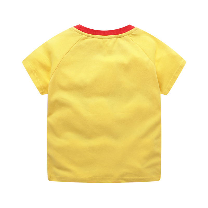 Pure Cotton Childrenswear 2019 Summer Wear Boy Surfing Shark Printed Shirt Children Cartoon Short-sleeved T-shirt