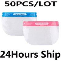 PET Reusable Full Face Mask Spittle Block Protective Face Shield Detachable Anti Fog Dustproof Adjustable Elastic Band Cover