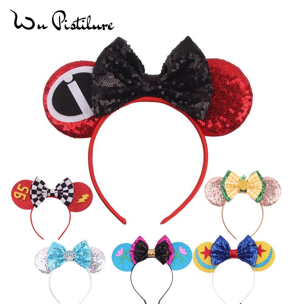 New Lovely Girls Cartoon Headband Bows Mickey Minnie Ears Hair Accessories Kid Women Head-Accessories Headdress Head Band Party