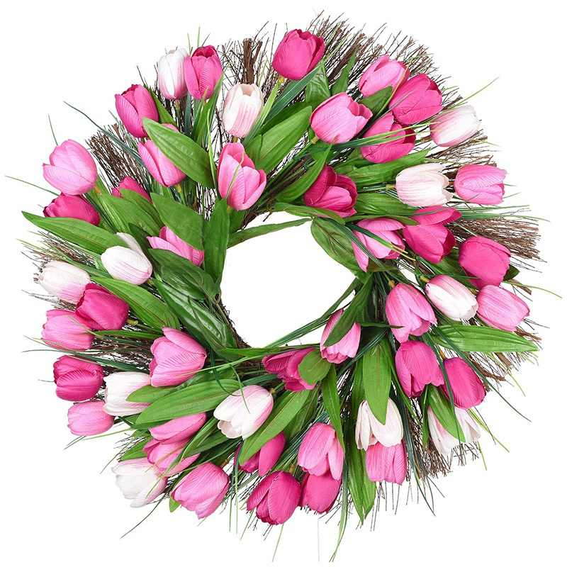 Tulip Artificial Flowers for Wreaths,Artificial Tulip Wreath for Mothers Day,Peony Bouquet Tulip Floral Door Wreath Spring Wreath for Front Door Garland Mothers Day Wreaths Decorations