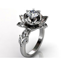Cute Female Crystal Rose Flower Ring Silver Color Wedding Finger Ring Promise Love Engagement Rings For Women unique style female crystal round leaf finger ring silver rose gold color wedding ring promise love engagement rings for women