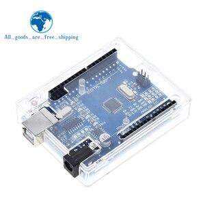 Image 3 - TZT UNO R3 geliştirme kurulu ATmega328P CH340 CH340G Arduino UNO için R3 düz Pin başlığı ile kablo