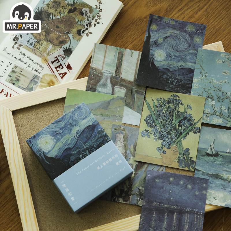 Mr.Paper 20pcs/lot Gallery Famous Loose Leaf Memo Pads Minimalist Write Down Points Motor Decal Refrigerator Styling Deco Office