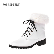 ROBESPIERE Genuine Leather Ankle Boots For Women Warm Plush Real Rabbit Fur Shoes Waterproof Lace Up Large Size B75