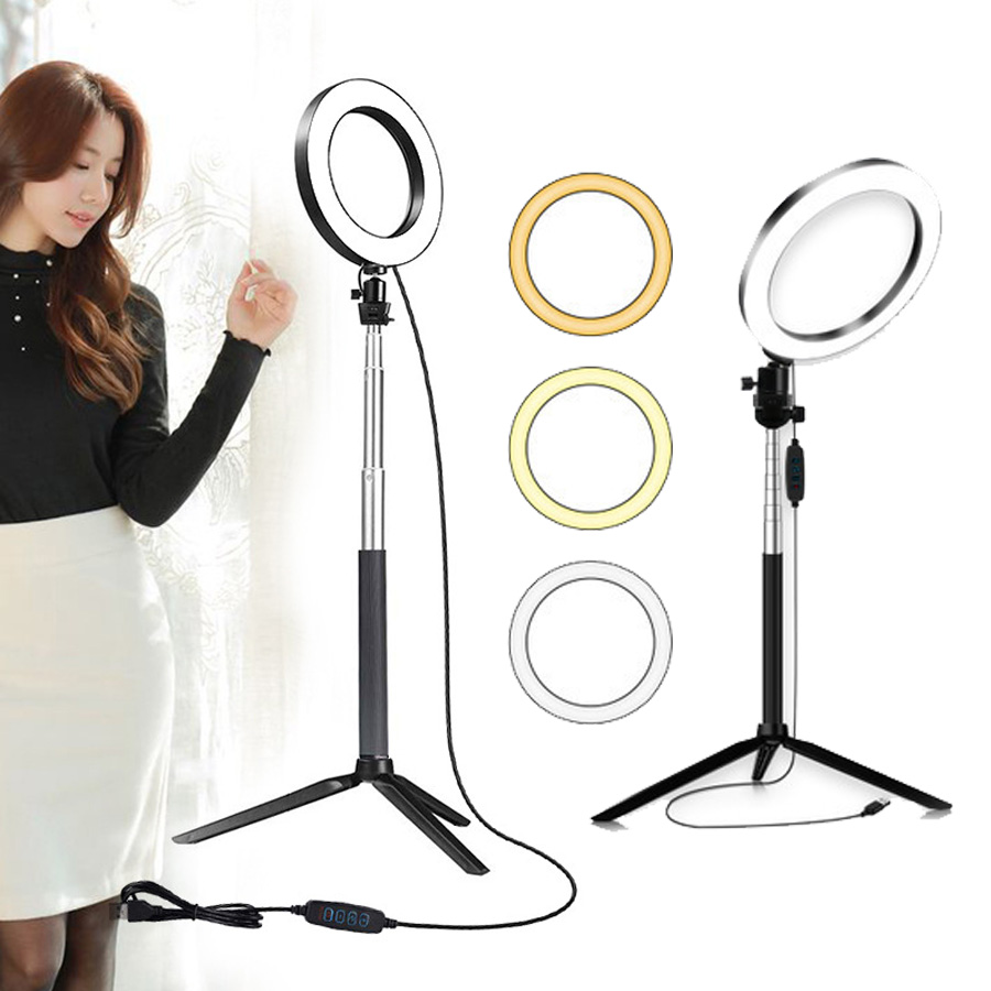 Camera Photography Selfie Stick Ring Light 16cm LED Makeup Ring Lamp With Phone Holder USB Plug For Live Stream Youtube Video