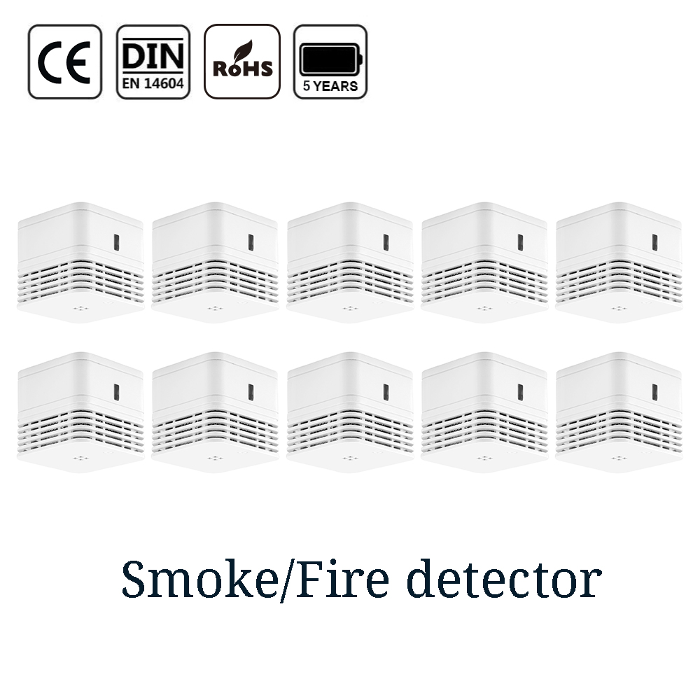 CPVan 5 Years Battery Smoke Detector Sensor Detector CE EN14604 Photoelectric Smoke Sensor Fire Protection Fire Alarm Detector