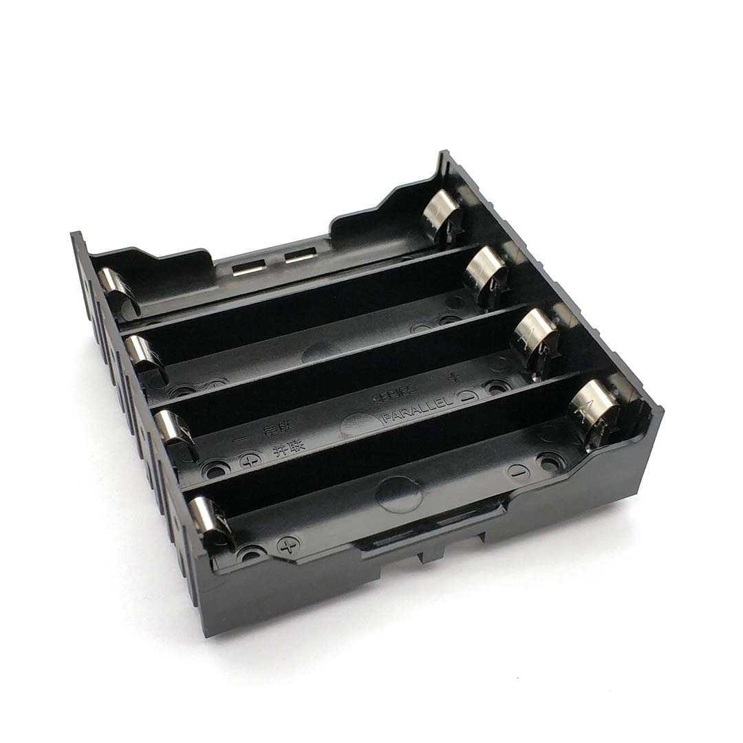 Wysokiej jakości 18650 opakowanie na baterie uchwyt baterie etui na 4 szt. 18650 równolegle 3.7V biegun czarny do lutowania