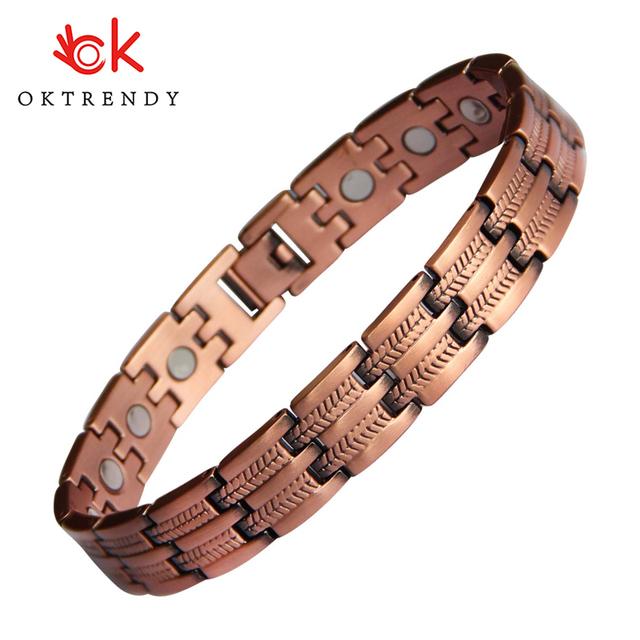 Oktrendy arthritis pure copper magnetic bracelet wholesale red copper healing bracelet men best bio magnet 3000 gauss