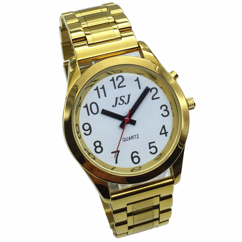 French Talking Watch With Alarm Function, Talking Date And Time, White Dial, Folding Clasp, Golden Case TAF-708