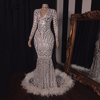 Silver Sparkly Sequined Mermaid Prom Dresses 2020 V Neck Long Sleeve Feathers African Women Formal Prom Gowns Party Dress