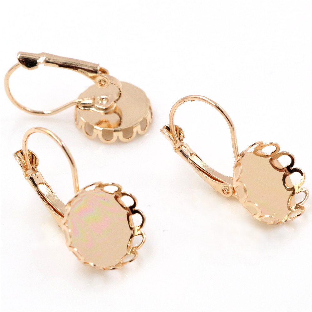 12mm 10pcs KC Gold Color French Lever Back Earrings Blank/Base,Fit 12mm Glass Cabochons,Buttons;Earring Bezels (K7-40)