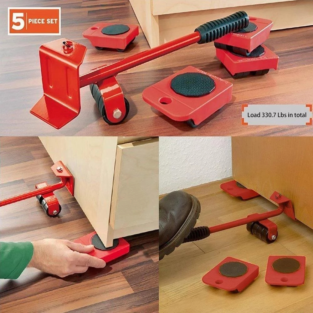 5 In 1 Moving Heavy Object Handling Tool Household Furniture Mobile Device Labor Saving Crowbar Hand Tool Set