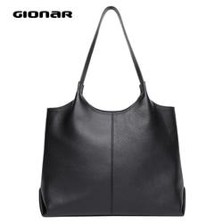 GIONAR женские сумки из натуральной кожи RFID с внешним карманом, повседневная черная сумка-тоут, дизайнерская сумка, сумка на плечо для работы и ...