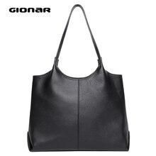 GIONAR из натуральной коровьей кожи сумки-шопперы для женщин Стильные повседневные Черные ручные сумки и кошельки сумка на плечо для работы и путешествий