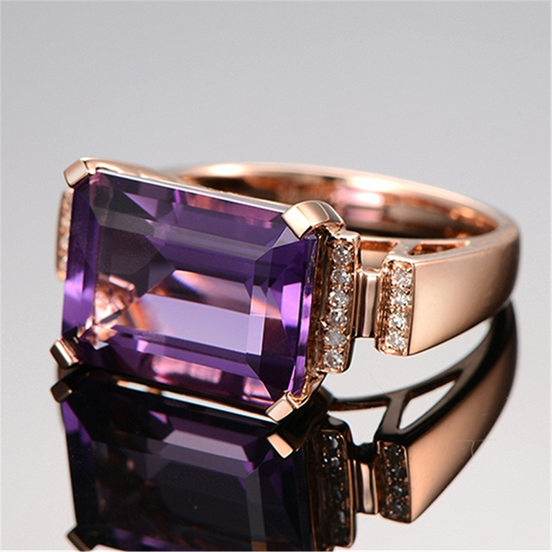 Wedding Ring for Cubic Zirconia Rectangle Ring with Stone Jewelry Purple