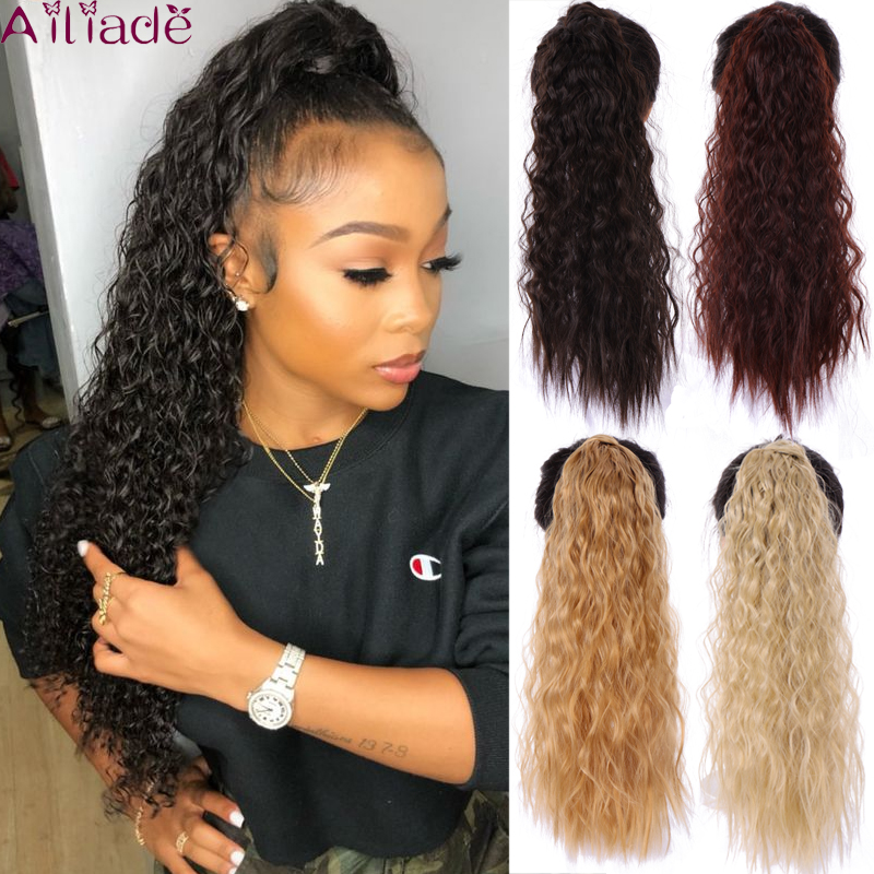 AILIADE Women Long Corn Wavy Wrap Around Magic Paste Ponytail Hair Extension Resistant High Temperature Hairpieces Synthetic