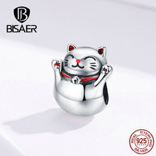 BISAER Cat Beads 925 Sterling Silver Maneki Neko Lucky Plutus Charms fit DIY Bracelets Jewelry ECC1178