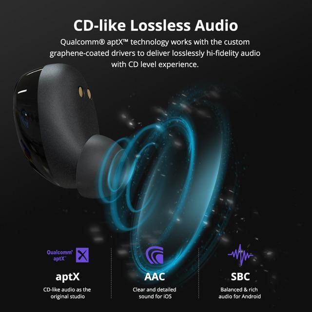Tronsmart Onyx Neo APTX słuchawki Bluetooth TWS bezprzewodowe słuchawki douszne z układem Qualcomm, regulacja głośności, czas odtwarzania 24H