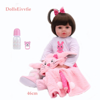 Bonecas Doll 46CM Silicone Reborn Baby Lifelike Toddler Reborn Baby Bebes doll Brinquedos Reborn Toys For Kids Gifts