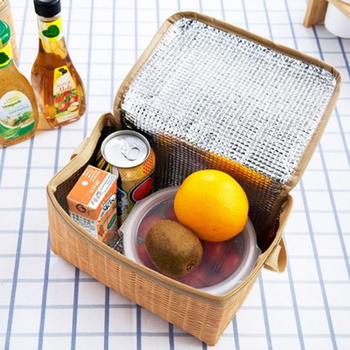 Imitation Rattan Waterproof Thermal Insulation Lunch Bag Or Picnic Food Storage Container Large Bento Box Camping Tools - discount item  15% OFF Special Purpose Bags