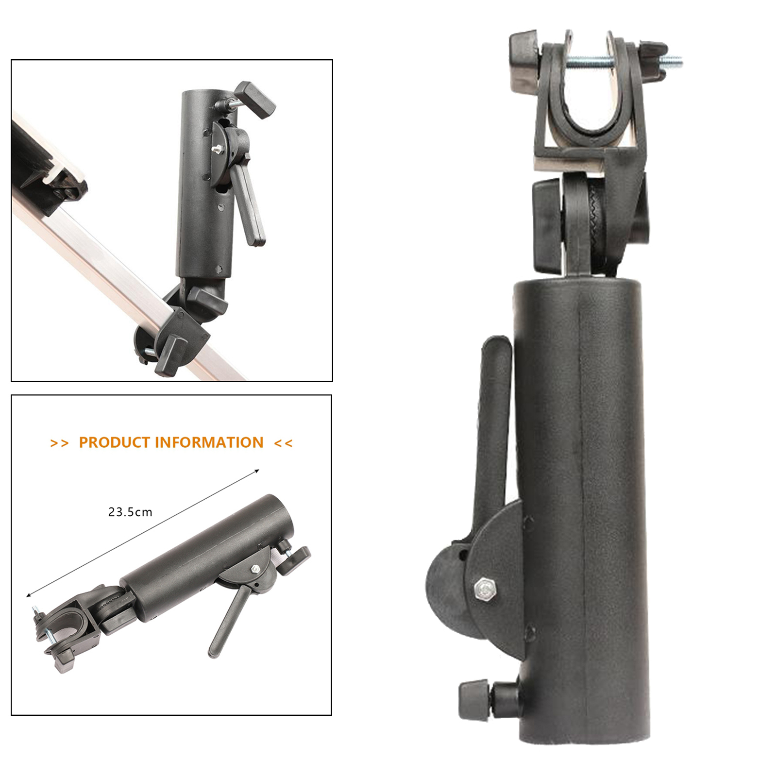 Angle Ajustable Swivel Double Lock Golf Club Trolley Pushchair Umbrella Holder