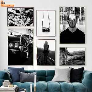 Vintage Motor Car Camera Girl Black White Nordic Posters And Prints Wall Art Canvas Painting Wall Pictures For Living Room Decor