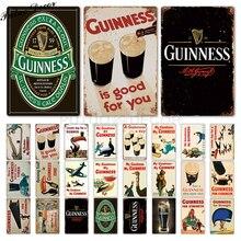 Винтажная металлическая табличка Guinness, Оловянная табличка, металлическая винтажная тарелка для паба, Настенная декоративная тарелка для бара, паба, клуба, человека, пещеры