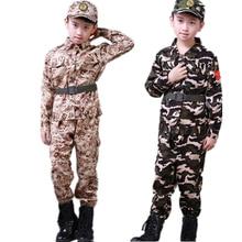 Детская армейская Военная униформа, одежда для солдат для мальчиков, Детская тренировочная камуфляжная длинная куртка+ штаны+ шляпа+ пояс, комплект армейской одежды
