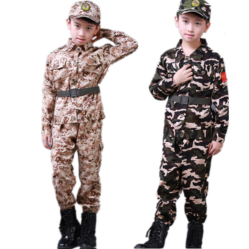 Kids Army Military Uniform Boy Soldier Clothing Children Scouting Training Camouflage Long Coat+Pants+Hat+Belt Set Army Clothes