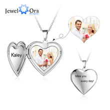 Heart Locket Engraving Stainless-Steel Personalized Photo Necklace Name Pendants Christmas-Gifts