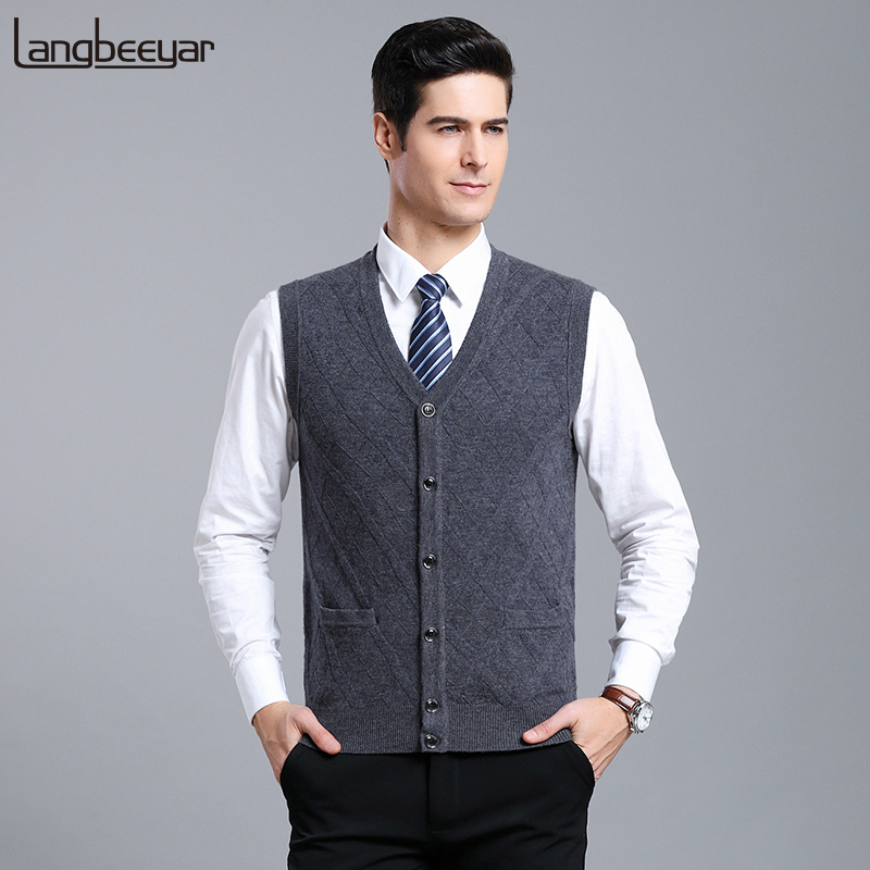 100% Wool Fashion Sweater For Mens Cardigan Sleeveless V Neck Slim Fit Jumpers Knitwear Vest Korean Style Casual Mens Clothes