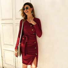 Autumn Knitted Bodycon Short Women Dress Casual Sexy V Neck Long Sleeve Slim
