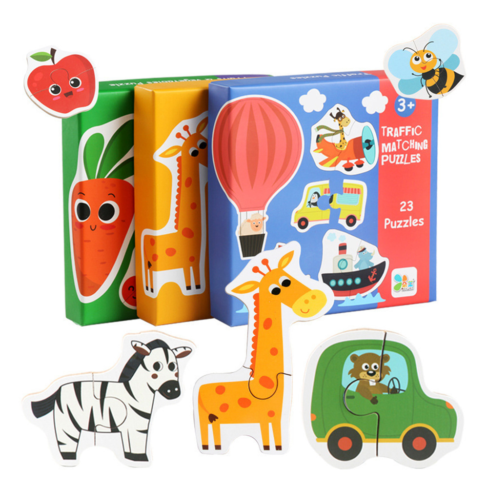 Children Large Matching Puzzle Games Early Learning Card  Puzzle Toys For Children Kids Educational Toys Gift Boy Wooden Toys
