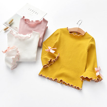 2020 Girls T-shirt Spring Autumn Baby Kid Flare Sleeve Bow-knot Casual Shirt Childrens Cotton Long Clothes for New