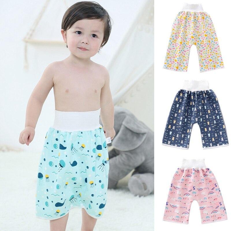 Водонепроницаемая детская юбка для подгузников, Детские тренировочные штаны, тканевые детские шорты для подгузников, юбка, герметичная спа...