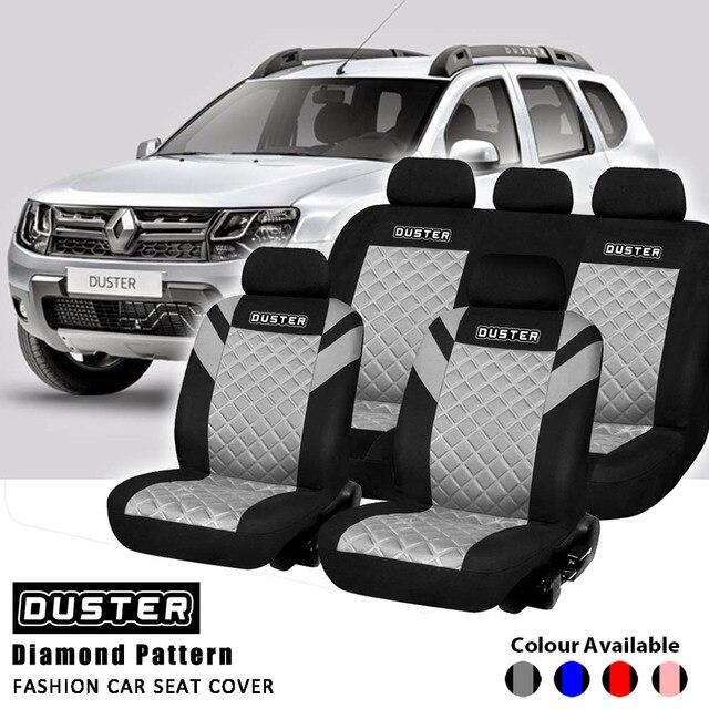 Duster Druck Logo Diamant Muster Geprägt Vollen Satz und 2 Vordersitze Innen Zubehör Universal Auto Sitz Abdeckung