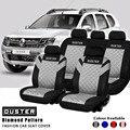 Duster печать логотипа Алмазный чехол с тисненым узором полный набор и 2 передних сидений интерьерные аксессуары универсальный чехол для авто...