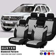 Housse de siège de voiture universelle, ensemble complet avec 2 sièges avant, Logo imprimé Duster, motif diamant en relief, accessoires d'intérieur